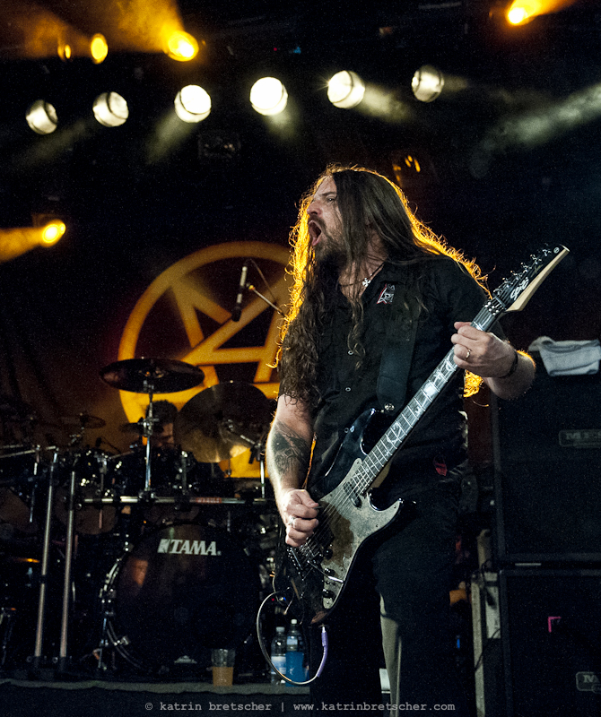 Andreas Kisser of Sepultura, standing in for Scott Ian at Anthrax\'s show at Schüür Lucerne, July 5, 2011